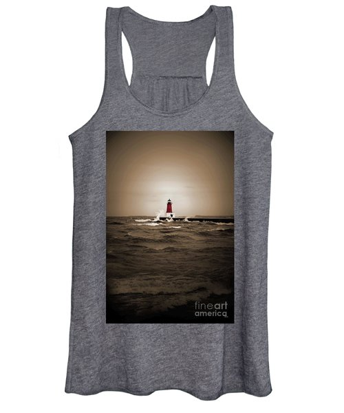 Lighthouse Glow Sepia Spot Color Women's Tank Top