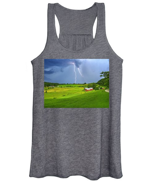 Lightning Storm Over Jenne Farm Women's Tank Top