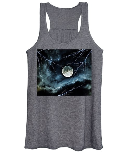 Lightning Sky At Full Moon Women's Tank Top