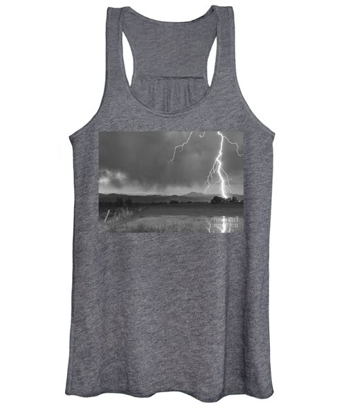 Lightning Striking Longs Peak Foothills 5bw Women's Tank Top