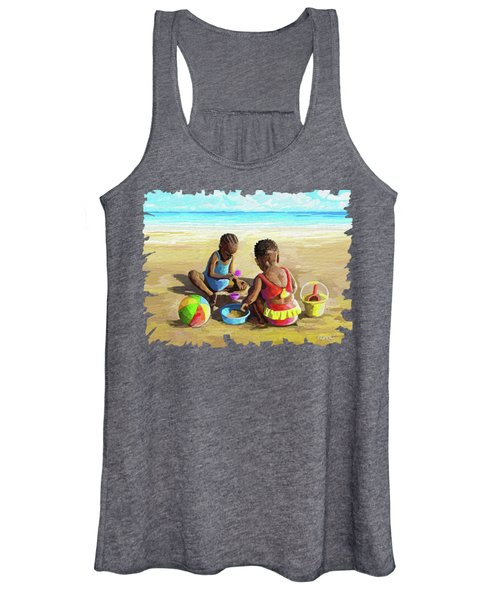 Little Girls At The Beach Women's Tank Top