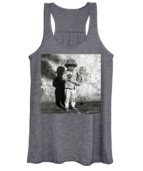 Little Vietnamese Girl Playing With Her Doll Women's Tank Top