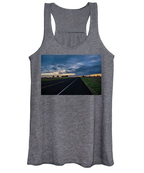 Lone Highway At Sunset Women's Tank Top