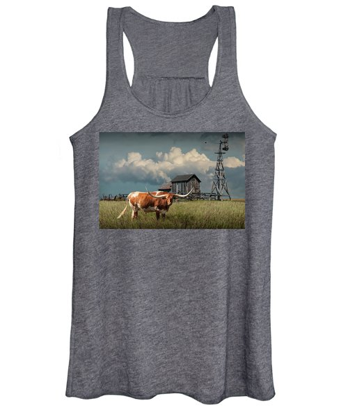 Longhorn Steer In A Prairie Pasture By Windmill And Old Gray Wooden Barn Women's Tank Top