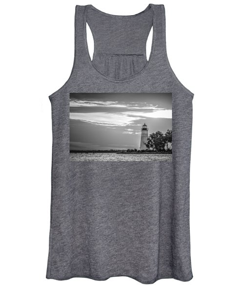Madisonville Lighthouse In Black-and-white Women's Tank Top
