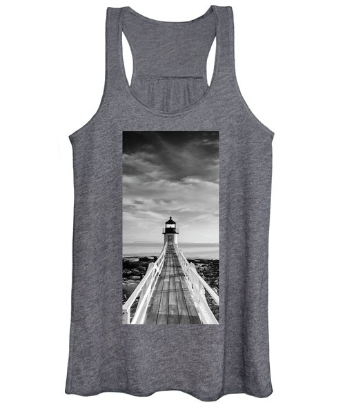 Maine Marshall Point Lighthouse Vertical Panorama In Black And White Women's Tank Top