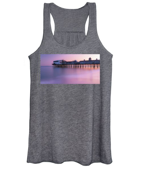 Maine Oob Pier At Sunset Panorama Women's Tank Top