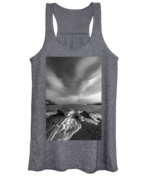 Maine Storm Clouds And Crashing Waves On Rocky Coast Women's Tank Top