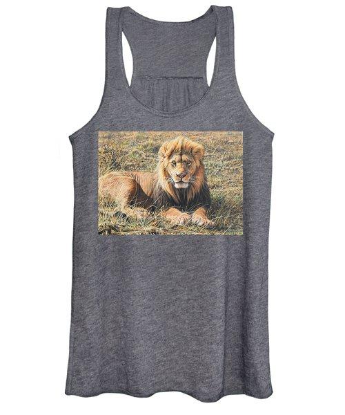 Male Lion Portrait Women's Tank Top