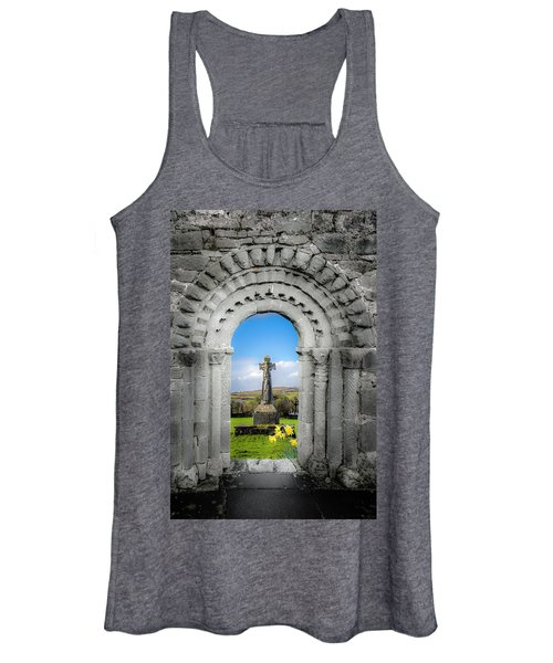 Women's Tank Top featuring the photograph Medieval Arch And High Cross, County Clare, Ireland by James Truett