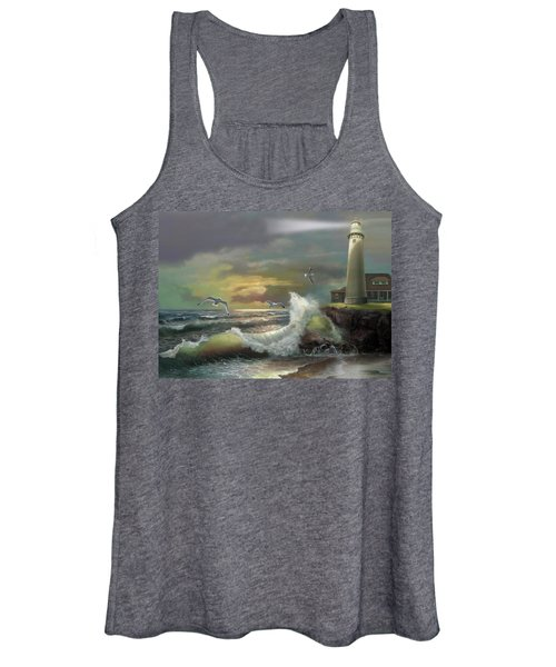 Michigan Seul Choix Point Lighthouse With An Angry Sea Women's Tank Top