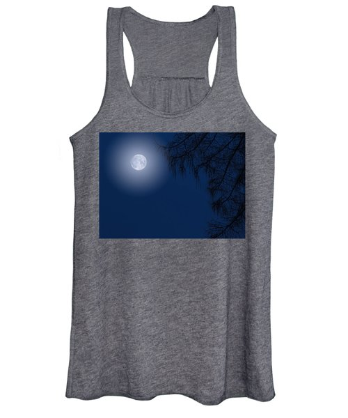 Midnight Moon And Night Tree Silhouette Women's Tank Top