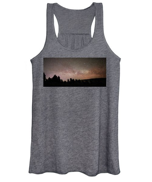 Milky Way Over Mammoth Hot Springs With Pink Glow From Aurora Borealis Women's Tank Top