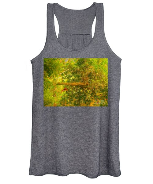 Misty Yellow Hue- Ringed Kingfisher In Flight Women's Tank Top