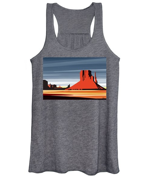 Monument Valley Sunset Digital Realism Women's Tank Top