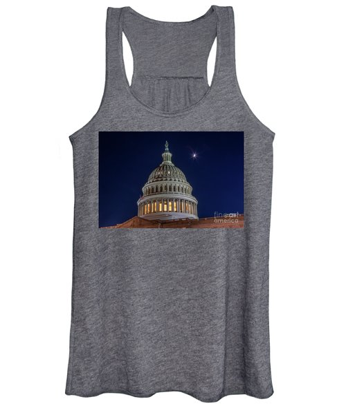 Moon Over The Washington Capitol Building Women's Tank Top