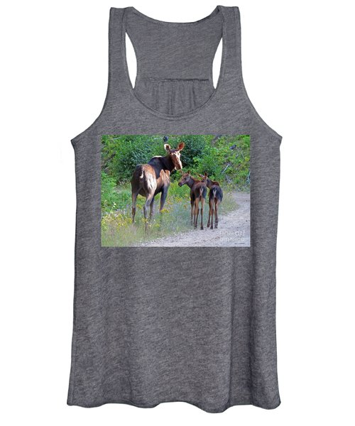 Moose Mom And Babies Women's Tank Top