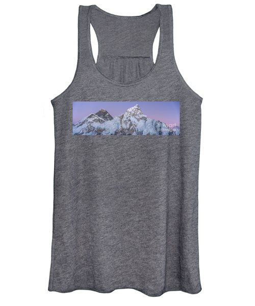 Mount Everest Lhotse And Ama Dablam Just After Sunset Panorama Women's Tank Top
