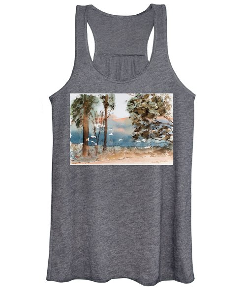 Mt Field Gum Tree Silhouettes Against Salmon Coloured Mountains Women's Tank Top