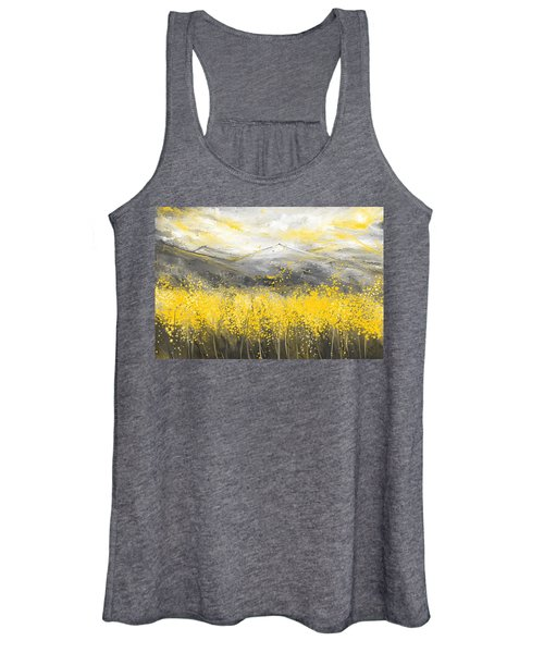 Neutral Sun - Yellow And Gray Art Women's Tank Top