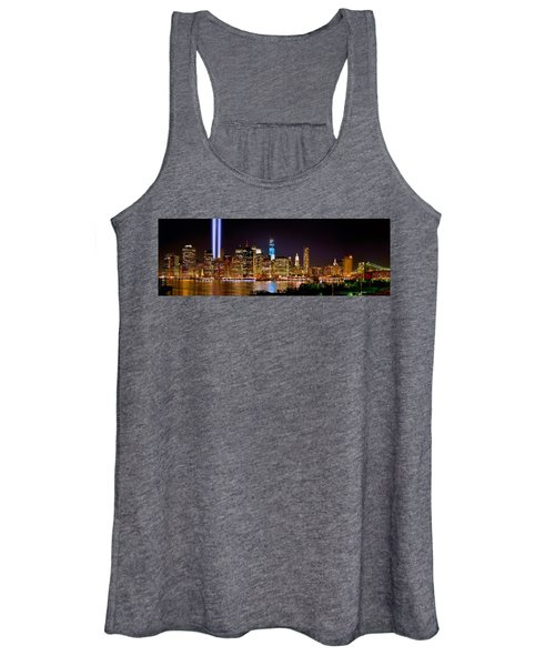 New York City Tribute In Lights And Lower Manhattan At Night Nyc Women's Tank Top