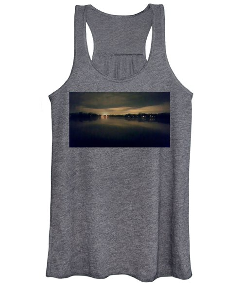 Night Sky Over Lake With Clouds Women's Tank Top