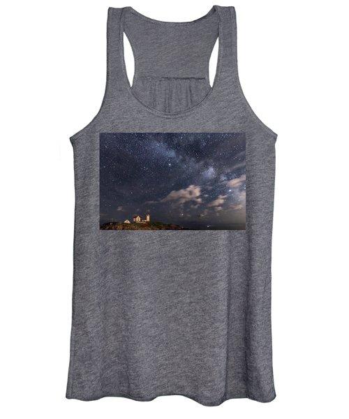 Nubble Lighthouse Under The Milky Way Women's Tank Top