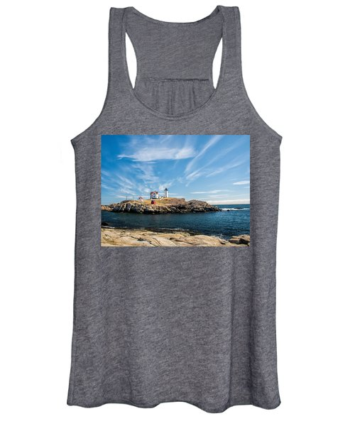Nubble Lighthouse With Dramatic Clouds Women's Tank Top