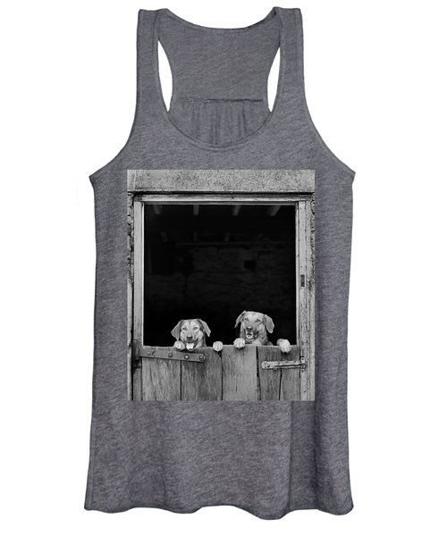 Nz Huntaways, Forever Happy And Nosey. Working Sheep Dogs Women's Tank Top
