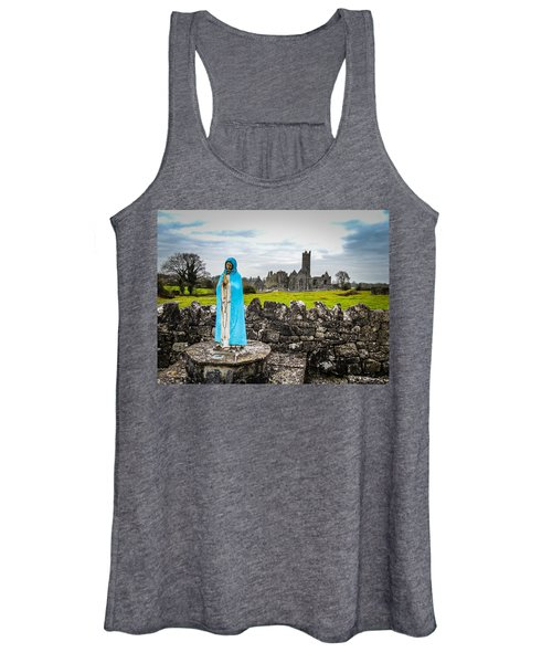 Women's Tank Top featuring the photograph Official Greeter At Ireland's Quin Abbey National Monument by James Truett