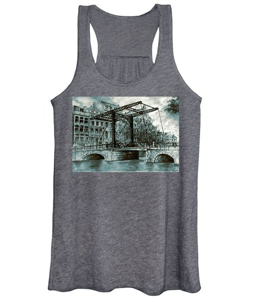 Old Amsterdam Bridge In Dutch Blue Water Colors Women's Tank Top