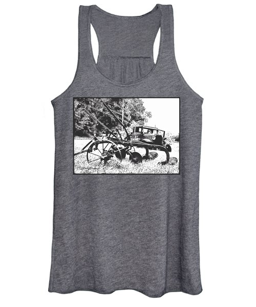 Old And Rusty In Black White Women's Tank Top