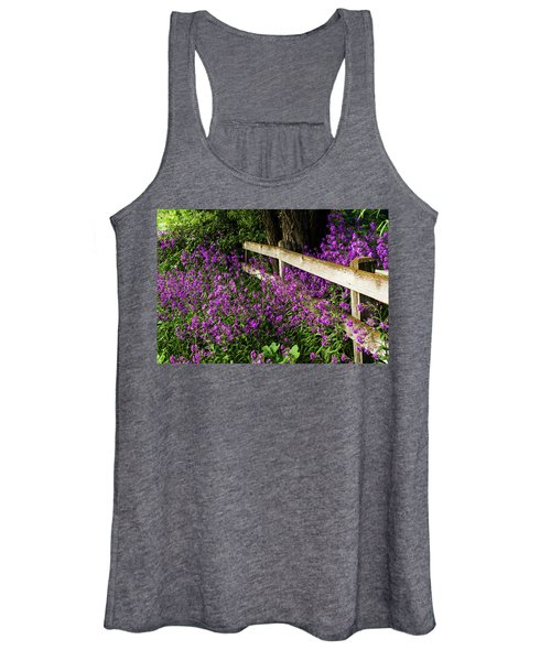 Old Fence And Purple Flowers Women's Tank Top