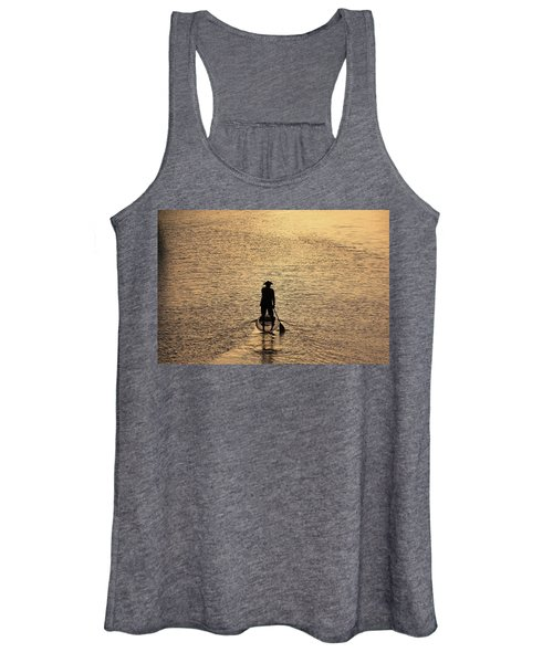 Old Man Paddling Into The Sunset Women's Tank Top