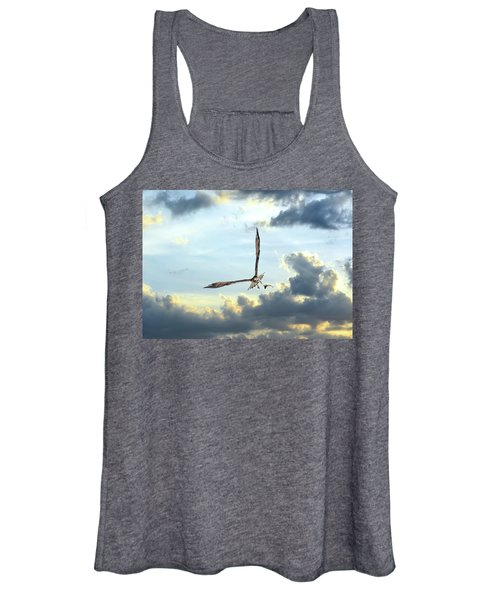 Osprey Flying In Clouds At Sunset With Fish In Talons Women's Tank Top