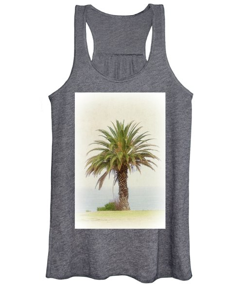Palm Tree In Coastal California In A Retro Style Women's Tank Top