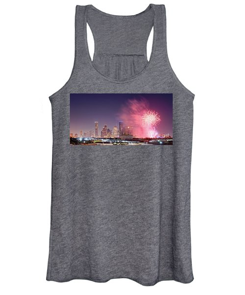 Panorama Of Downtown Houston Skyline Fireworks On The 4th Of July - Harris County Texas Women's Tank Top