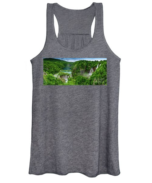 Panorama Of Turquoise Lakes And Waterfalls - A Dramatic View, Plitivice Lakes National Park Croatia Women's Tank Top