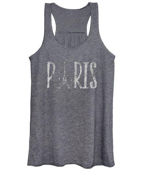 Paris Typography - Grey - Silver Splashes Women's Tank Top