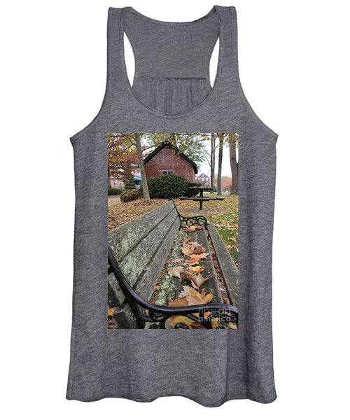 Park Bench With Maple Leaves In Autumn Women's Tank Top