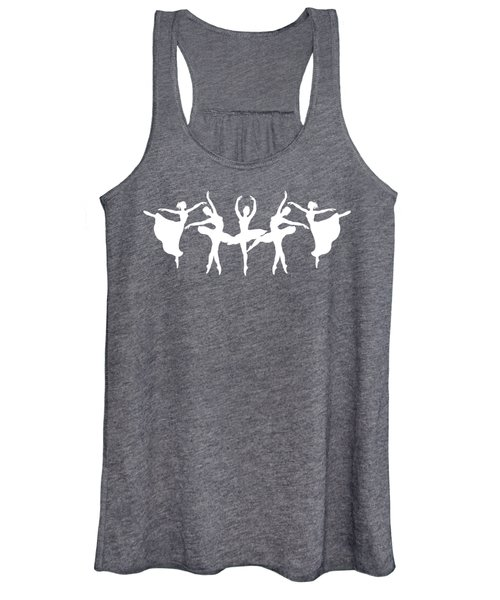 Passionate Dance White Ballerinas Silhouettes Women's Tank Top