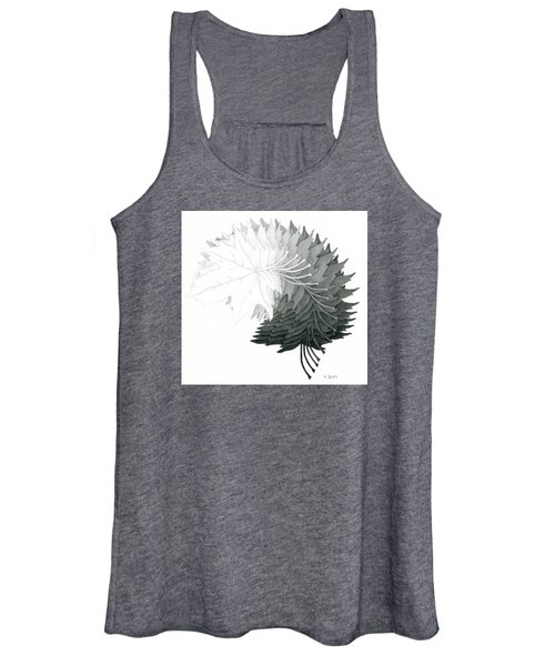 Pencil Drawing Of Maple Leaves Women's Tank Top