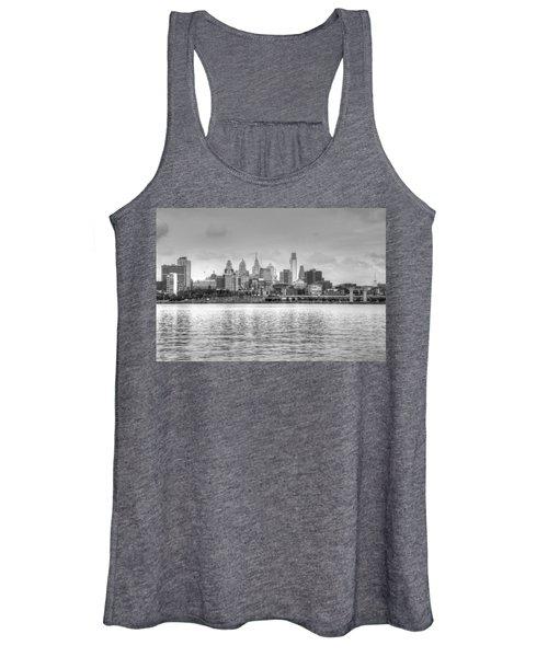 Philadelphia Skyline In Black And White Women's Tank Top