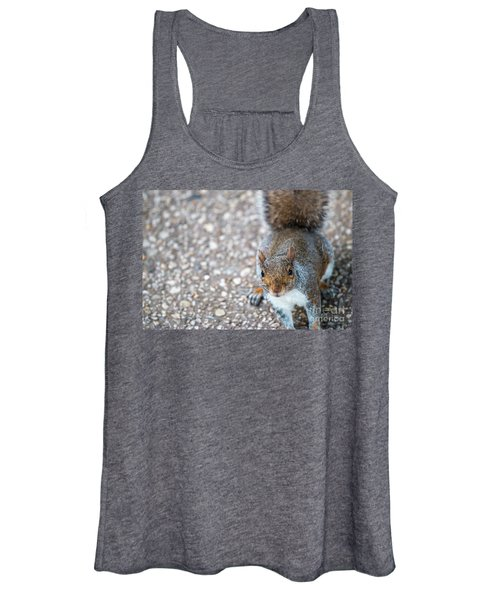 Photo Of Squirel Looking Up From The Ground Women's Tank Top