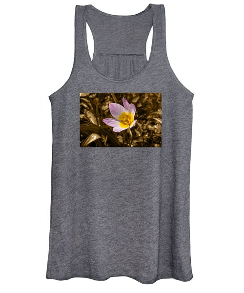 Pink And Yellow Tulip On Sepia Background Women's Tank Top