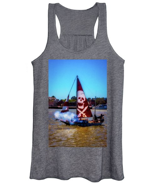 Pirate Ship With Red Skull Sail Women's Tank Top