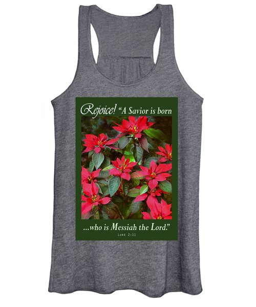Poinsettia Christmas Women's Tank Top