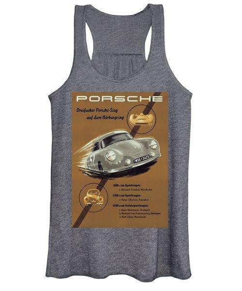 Porsche Nurburgring 1950s Vintage Poster Women's Tank Top