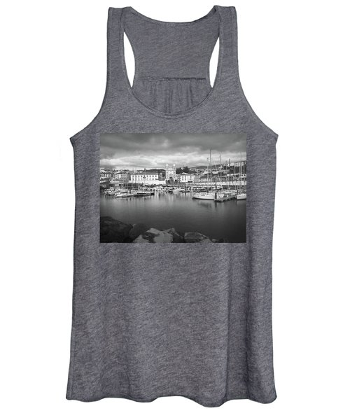 Port Of Angra Do Heroismo, Terceira Island, The Azores In Black And White Women's Tank Top