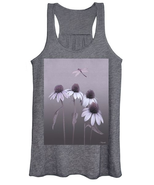 Purple Coneflowers And Dragonfly Women's Tank Top